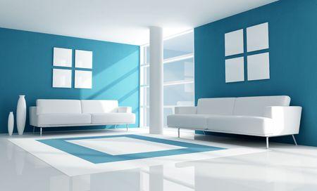 blue modern living room with two white velvet sofa - rendering Stock Photo - 5414905