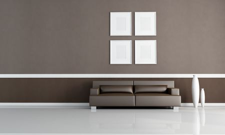 brown living room with four empty frames - rendering photo