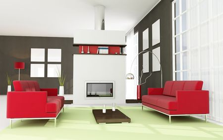 modern living room with minimal fireplace - rendering Stock Photo - 5414914