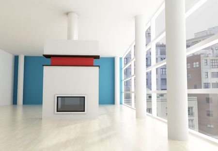 empty city apartment with modern fireplace - rendering .the image on background is a my composition Stock Photo - 5414907