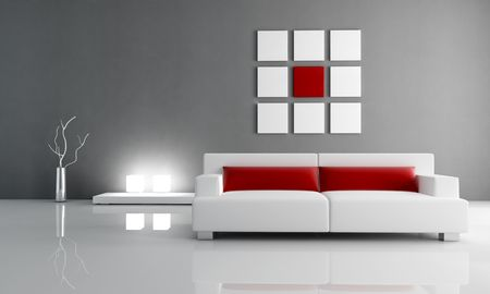 minimal contemporary red and white living room - rendering Stock Photo - 5414910