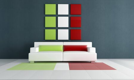 contemporary living room with italian flag colour - rendering Stock Photo - 5414909
