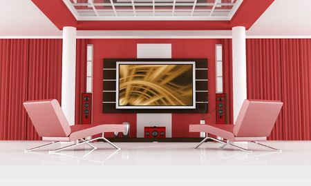 red chaise lounge in a modern living room with home theater system - the image on screen is a my composition photo