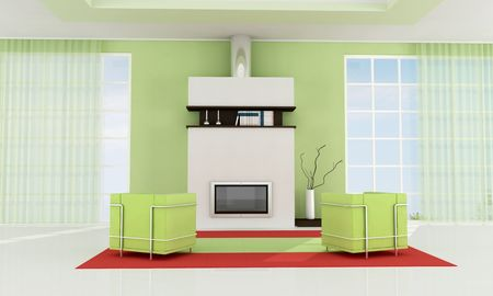 contemporary fireplace in a green modern living room - rendering Stock Photo - 5414912