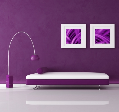 purple minimal interior with velvet sofa and lamp, the image on wall are my abstract composition photo