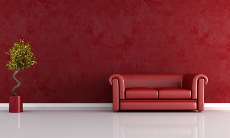 red leather sofa against stucco wall - rendering Stock Photo - 5464350