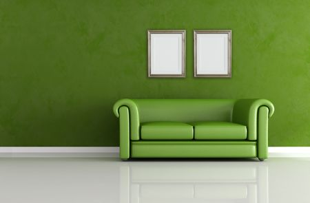 classic minimal interior with luxury leather green sofa Stock Photo - 5464346