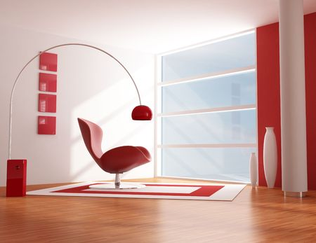 modern living room with red fashion armchair - rendering