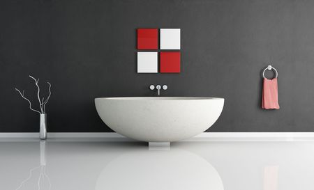bathtubs: modern minimal bathroom with fashion sandstone round bathtub