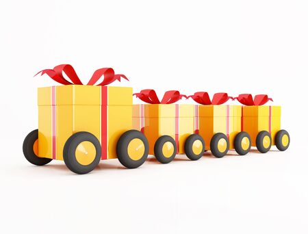 convoy: conceptual for many use,orange gift box convoy on wheels isolated on white
