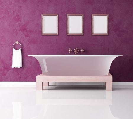 tub: cuarto de ba�o con ba�era p�rpura cl�sico de la moda-rendering
