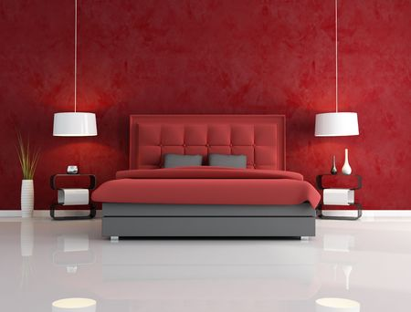 red pillows: luxury red bedroom with headrest of the bed quilted - rendering
