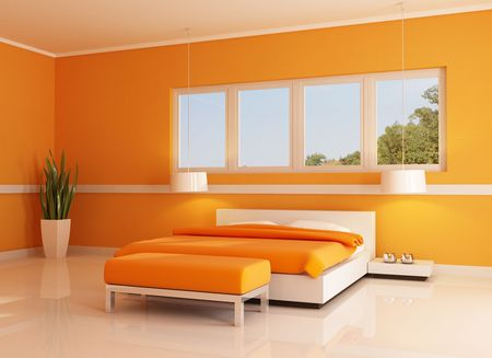 modern orange bedroom against white window - rendering Stock Photo - 5572658