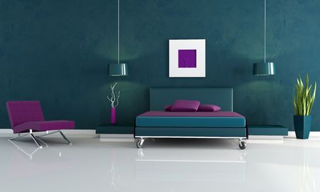 chaise lounge: modern blue bedroom wiyh double bed and chaise lounge