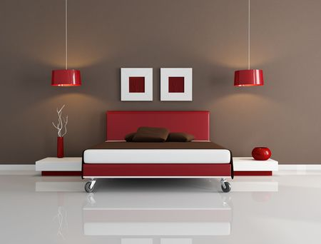 minimal red and brown bedroom -rendering Stock Photo - 5572656