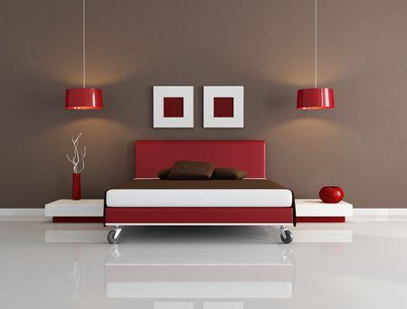 double room: minimal red and brown bedroom -rendering