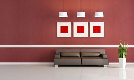 brown leather sofa: soggiorno moderno con divano in pelle marrone Archivio Fotografico