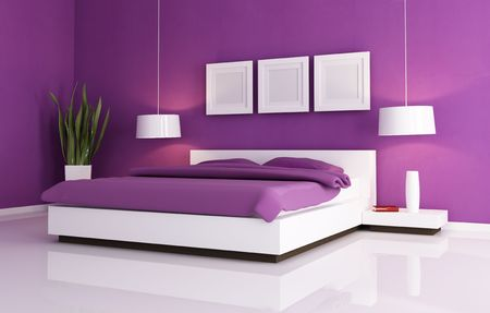 bedroom bed: minimal purple bedroom with white  double bad