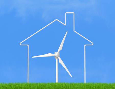 conceptual ecological house with wind turbine against clear sky photo