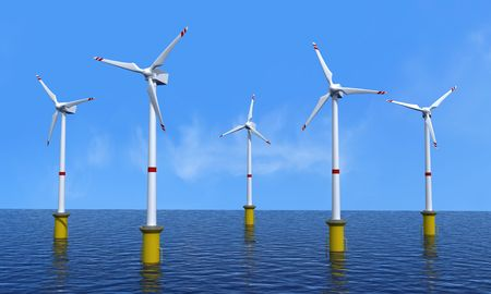 wind turbine offshore in a beautiful day - rendering photo