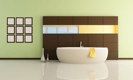 fashion bathtub in a minimal bathroom - rendering Stock Photo - 5694620
