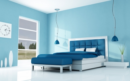bedroom design: blue bedroom of a holiday villa - rendering Stock Photo