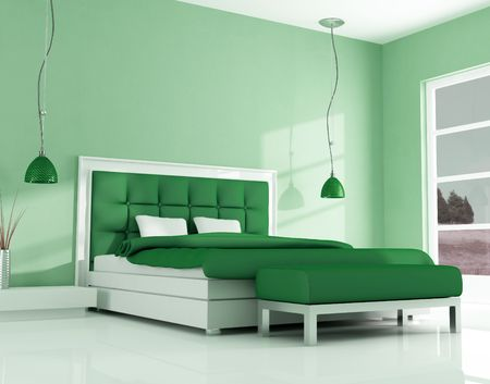 green bedroom of a holiday house - rendering Stock Photo - 5694628
