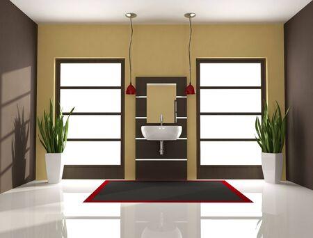 minimal modern bathroom with fashion sink - rendering Stock Photo - 5694618