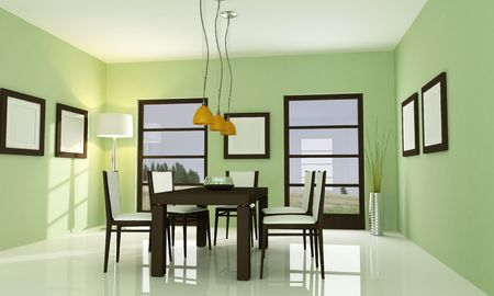 modern green dining room - rendering Stock Photo - 5694626
