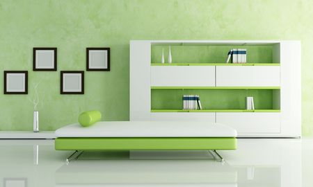 green and white living room with modern bookcase -rendering photo
