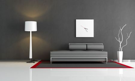 minimal black interior with fashion couch photo