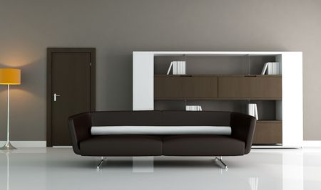 brown couch and modern bookcase in a minimal lounge photo