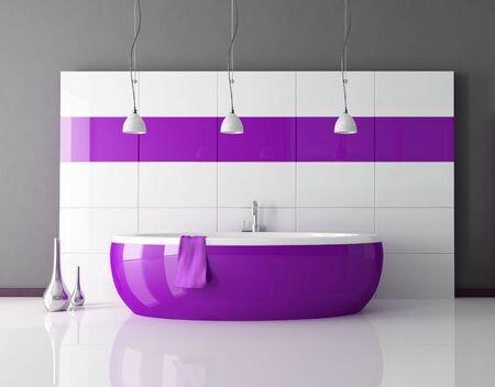 tub: purple bathtub in a minimal contemporary bathroom - rendering