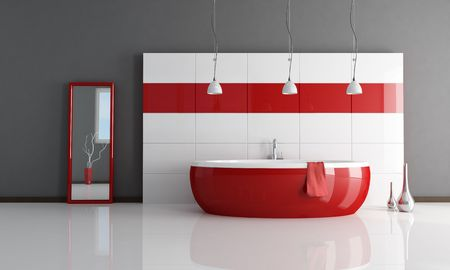 white bathroom: red and white minimal contemporary bathroom - rendering