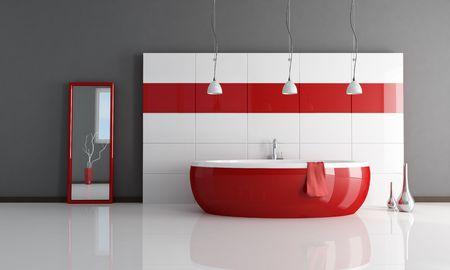 bathroom faucet: rojo y blanco cuarto de ba�o contempor�neo m�nimo - de representaci�n