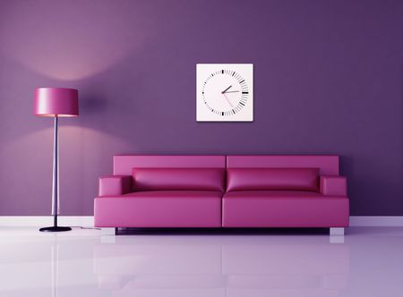 pink modern couch against purple wall - rendering photo