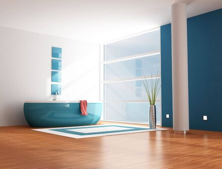 minimalist modern blue bathroom - rendering Stock Photo - 5740878