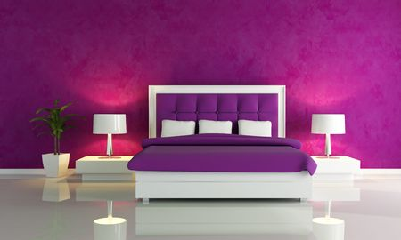 double rooms: Purple fashion bedroom Stock Photo