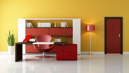 contemporary office space with modern desk and fashion chair - rendering photo