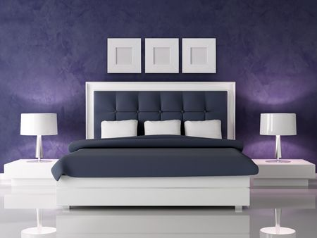 bed frame: fashio white and navy blue bedroom against dark purple stucco wall - rendering