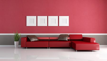 modern sofa: modern couch in a red and brown minimal living room- rendering Stock Photo