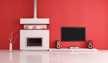 contemporary fireplace with lcd tv and speaker in a red lounge photo