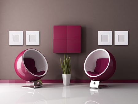 two fashion armchair in a purple and brown lounge - rendering Stock Photo - 5779506