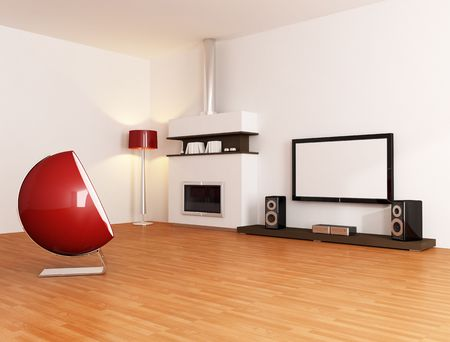 white minimal living room with fireplace fashion armchair and home tv equipment - rendering photo
