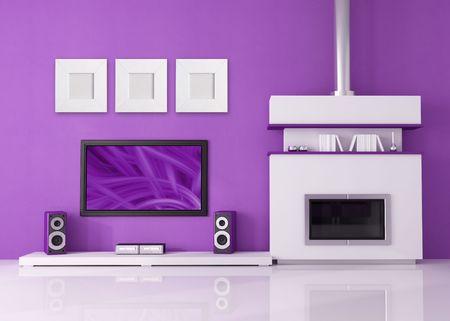 equipo de sonido: chimenea contempor�neo con lcd tv y orador en un sal�n p�rpura Foto de archivo