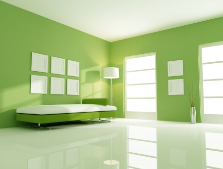 modern couch in a bright green living room photo