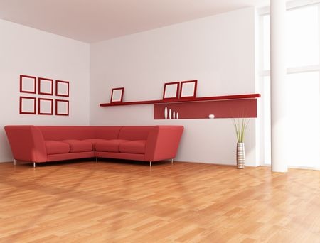 white and red modern living room - rendering photo