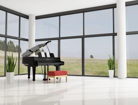 piano de cola: piano de cola en un moderno Sal�n minimalista  Foto de archivo