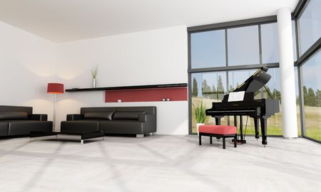 luxury living room with black grand piano Stock Photo - 5808076