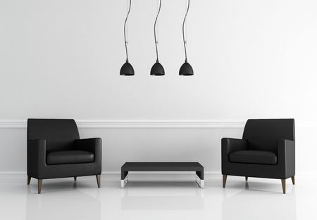 two black leather armchair in a white living room - rendering photo